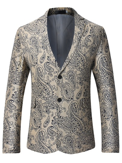 notched collar double button ethnic floral printed slim fit mens blazer