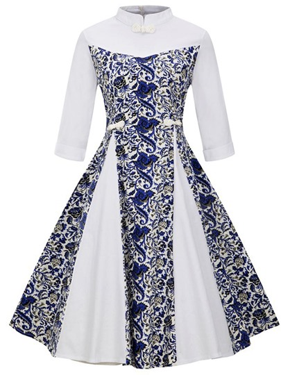 Mandarin Collar Double-Layered Women's Day Dress