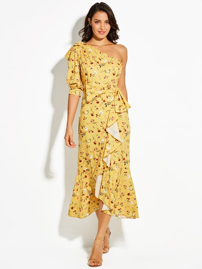 One-Shoulder Floral Print Bowknot Vacation Women's Maxi Dress