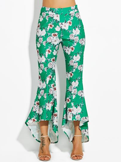 Color Block Floral Print Wide Legs Vacation Women's Pants
