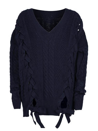 Loose Jacquard Weave Pullover Women's Sweater