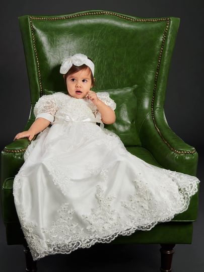 Lace Infant Girl Christening Baptism Dress with Headband
