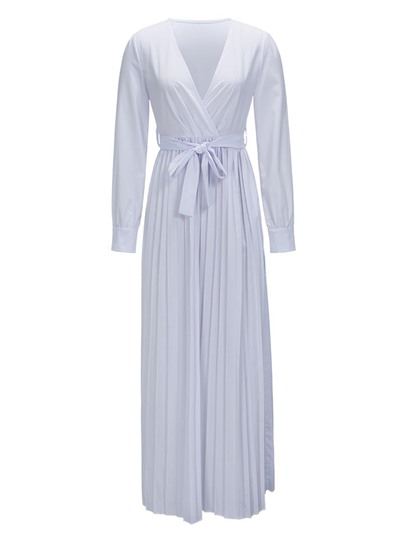 V Neck Pleated Off White Women's Maxi Dress