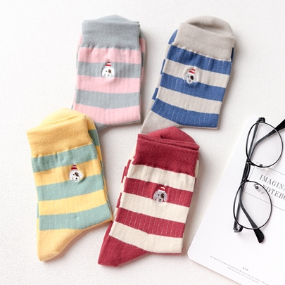 Colorful Stripe Little Bears Pattern Sweet Socks for Women 4 Packs