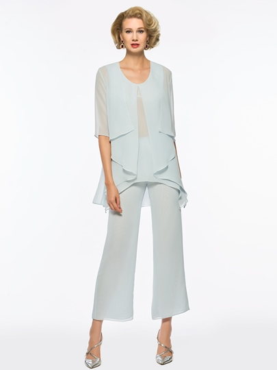 Scoop Neck Chiffon Mother of the Bride Jumpsuit with Jacket
