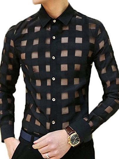 Lapel Hollow Lace Plaid Single-Breasted Slim Fit Men's Shirt