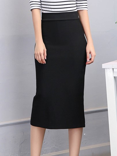 Plain High-Waist Pure Color Women's Pencil Skirt