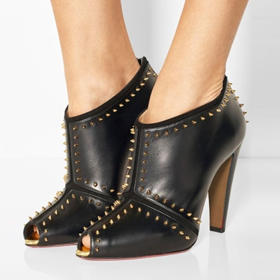 Peep Toe Chunky Heel Rivet Women's Black Punk Boots
