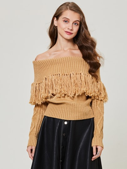Slash Neck Tassel Patchwork Pullover Women's Sweater