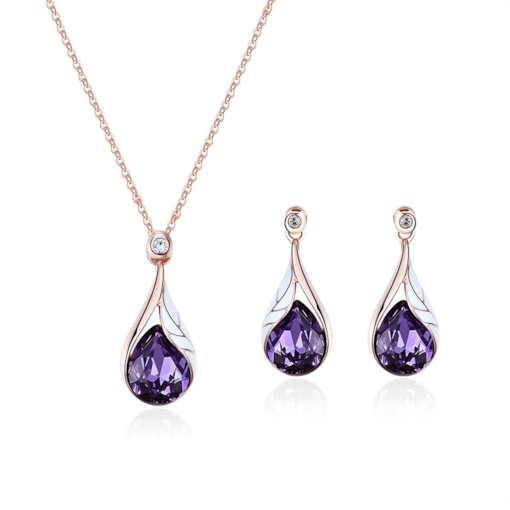 Water Drop Shaped Diamante Ultra Violet Jewelry Sets