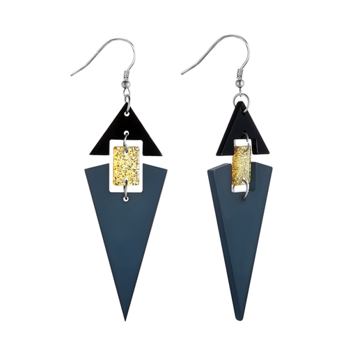 Ring Shining Gold Alloy Triangle Acrylic Earrings