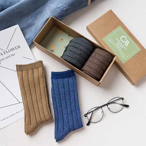 Pure Color Cotton Winter Men's Socks 4 Packs
