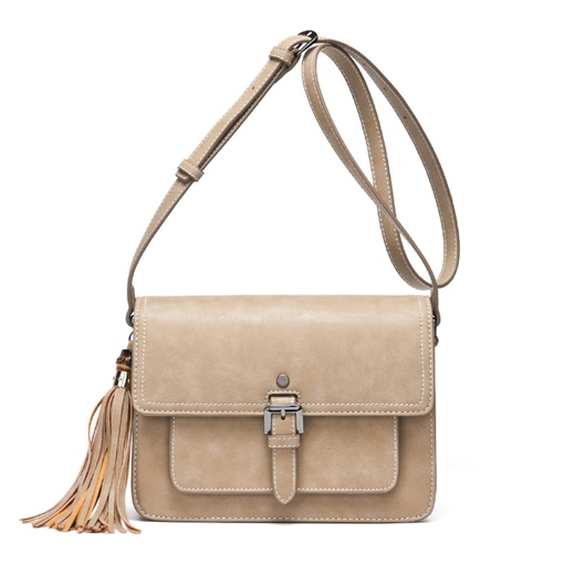 Korean Style Tassel Solid Color Cross Body Bag