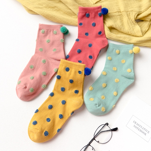 Pompon Mixed Color Girl's Cute Socks Mid Calf Length Hosiery for Women