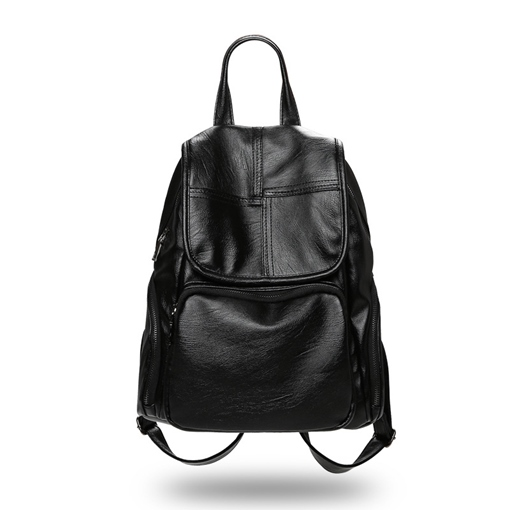 Casual Soft PU Zipper Women Backpack