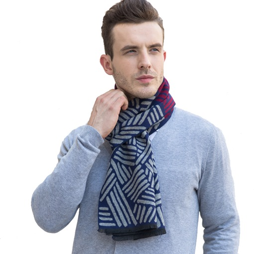 Asymmetric Stripe Cashmere Men's Scarfs