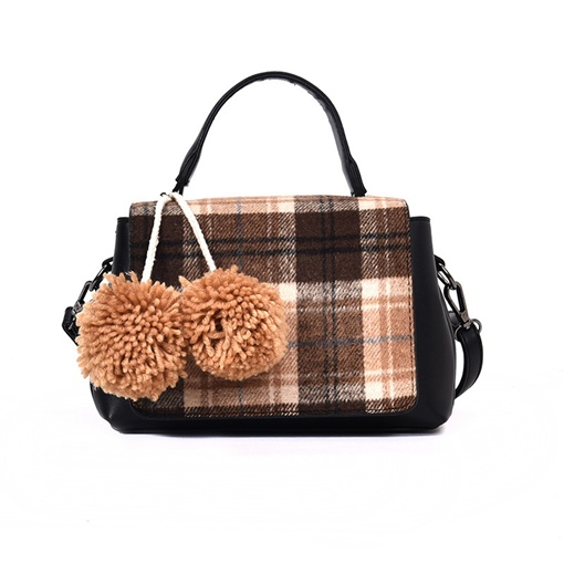 Classic Plaid Ball Decoration Women Tote