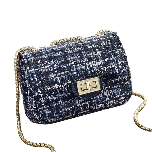 Color Block Woolen Cloth Chain Cross Body Bag
