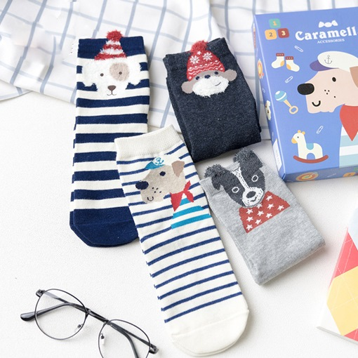 Funky Cartoon Women's Crew Socks for Adult 4 Packs