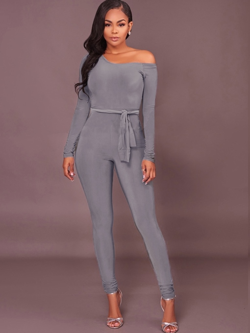 Lace-Up Long Sleeves One Shoulder Off Women's Jumpsuits