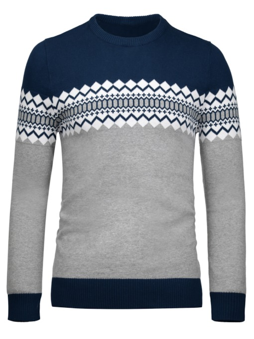 Round Collar Ethnic Patchwork Slim Fit Casual Men's Sweater