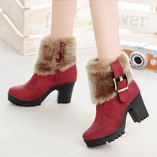 Suede Zipper Non Slip Outsole Plush Winter Shoes for Women