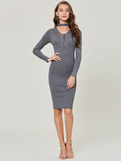 V-Neck Plain Lace-Up Pullover Women's Sweater Dress