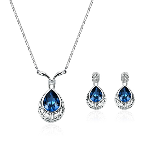 Sapphire Inlaid Hollow Out Diamante Jewelry Sets