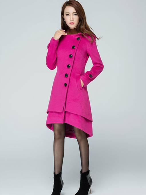 Plain Hooded Single-Breasted Women's Overcoat