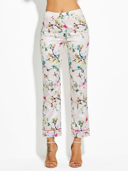 Slim Flower Print Sleepwear Vacation Women's Trousers