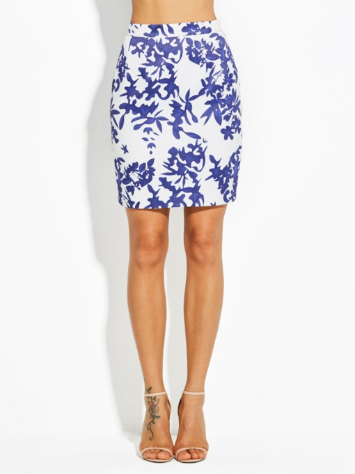 Mid-Waist Floral Print Bodycon Vacation Women's Skirt
