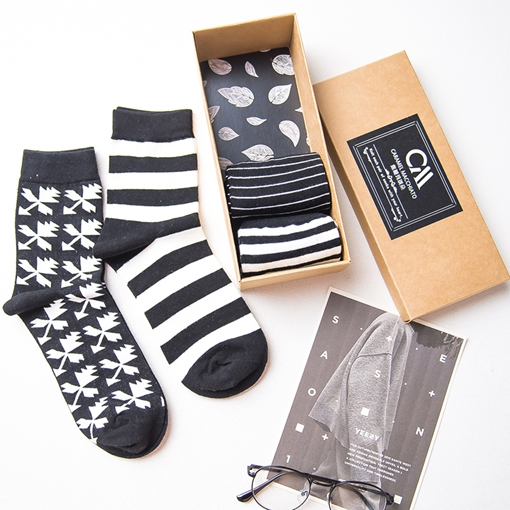 Mixed Pattern Black Socks for Men Cotton Blends Crew Hosiery 4 Pairs