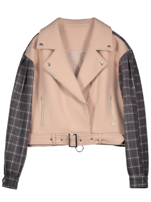 Wide-Lapel Color Block Zipper Women's Jacket