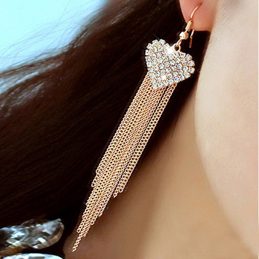 Heart Shaped Diamante Tassel Earrings