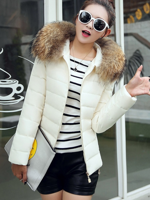 Faux Fur Collar Hooded Women's Cotton Padded Jacket