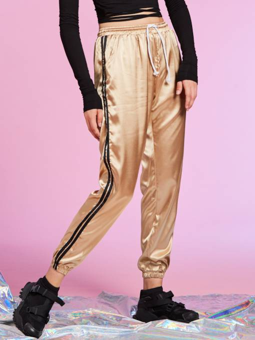 Loose Stripe Patchwork Elastics Women's Pants