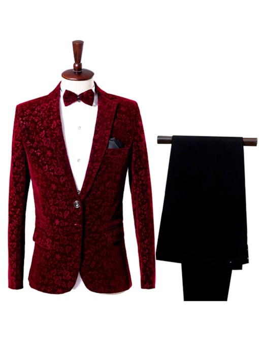 Notched Collar Burgundy One Button Slim Fit Men's Dress Suit