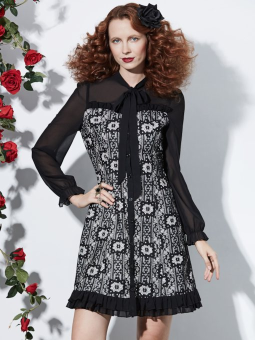 Lace Long Sleeve Knee-Length Bow Collar Single-Breasted Women's Dress