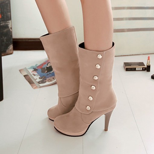 Slip On Button Thick Heel Boots for Women