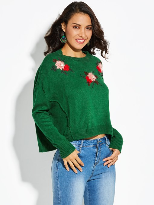 Dropped Shoulder Sleeve Floral Vacation Women's Sweater