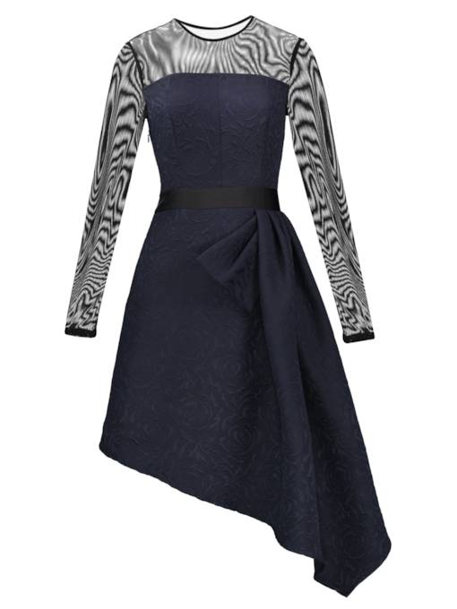 Dark Blue Mesh Patchwork Asym Women's Day Dress