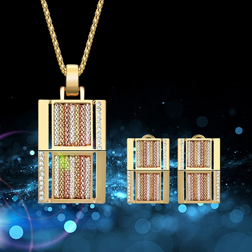 Figaro Chain Full Drill Overgild Rectangle Hollow Out Jewelry Sets