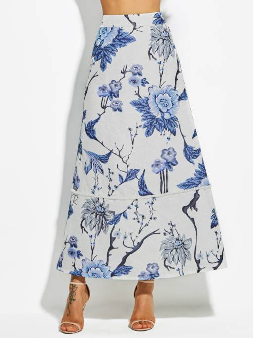 Ankle-Length Floral Print A-Line Vacation Women's Skirt