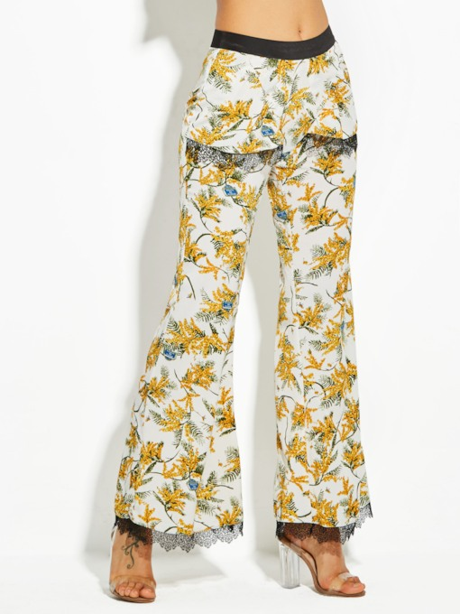 Flower Print Full Length Women's Vacation Bellbottoms