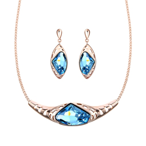 Charming Blue Rhinestone Inlaid Jewelry Sets
