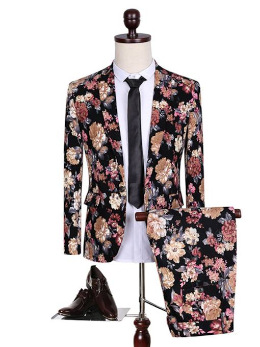 Ethnic Floral Printed Notched Collar One Button Slim Fashion Fit Men's Dress Suit