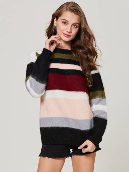 Color Block Stripe Pullover Autumn Women's Sweater