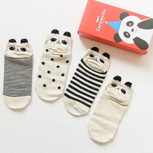 Sweet Women's Socks Cute Animal Adult Hosiery 4 Pairs