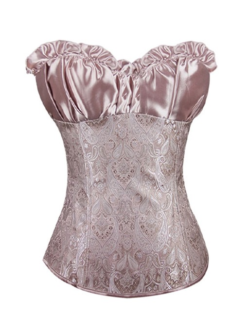 Elegant Pleated Lace-Up Patchwork Corset