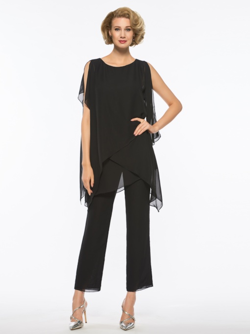 Scoop Neck Black Mother of the Bride Jumpsuit
